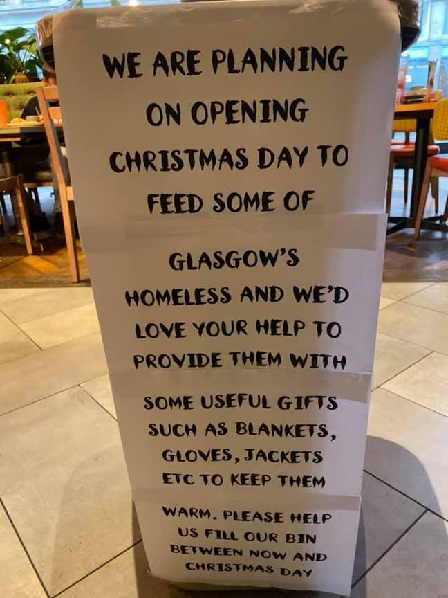 The sign in the Glasgow restaurant. Credit: Facebook/Nando's Glasgow Waterloo Street