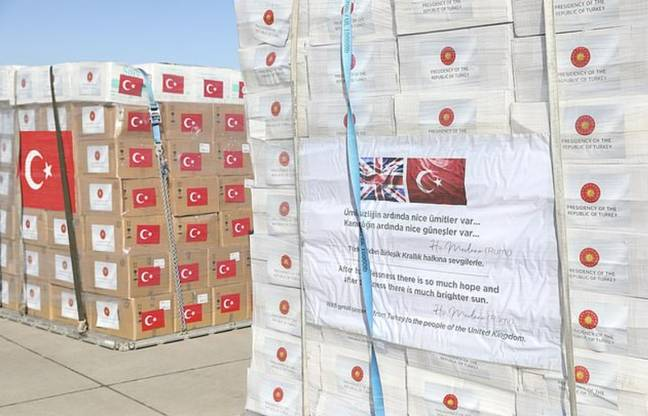 The boxes were sent with poetry on the side. Credit: Anadolu Agency