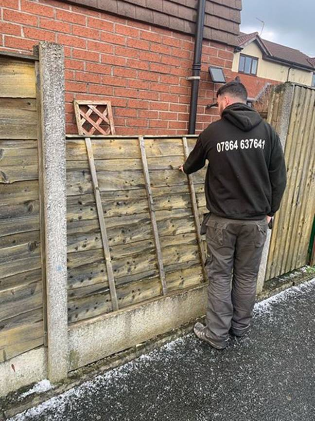 Adam and Tom have fixed more than 50 fences in the last three days. Credit: Caters