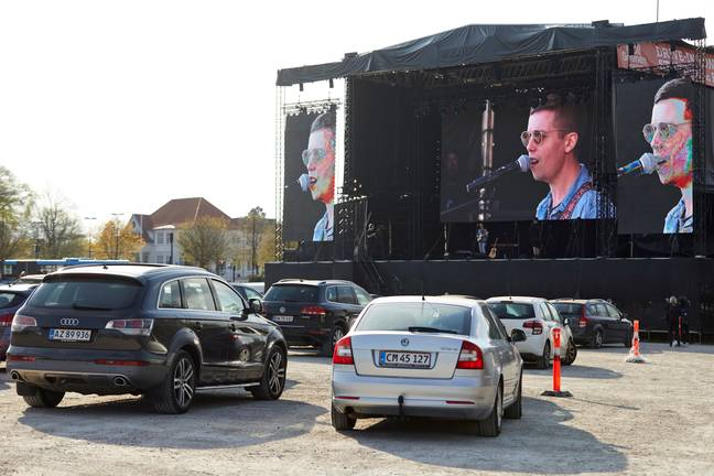 Danish singer Mads Langer as he performs at a sold-out drive-in concert in Aarhus. Credit: PA