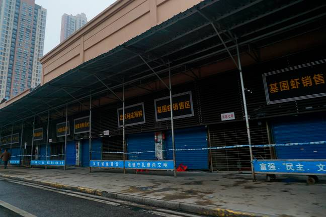 The Wuhan Huanan Wholesale Seafood Market remained closed on 21 January. Credit: PA