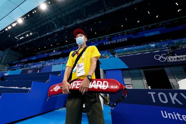 A lifeguard at the Tokyo Olympics. Credit: PA