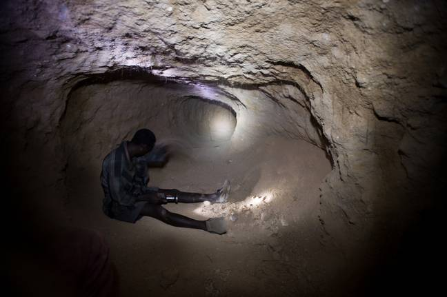 A small-scale miner in Tanzania. Credit: PA