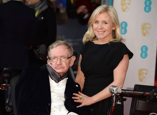 Lucy Hawking with her father in 2015. Credit: PA