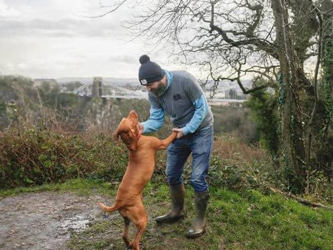 Rob Osman with his dog Mali. Credit: James Beck Photography