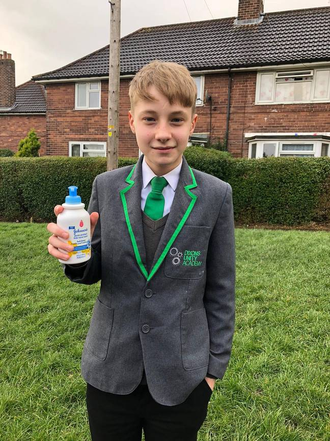 Oliver Cooper was sent home from school for charging students to use hand wash. Credit: SWNS