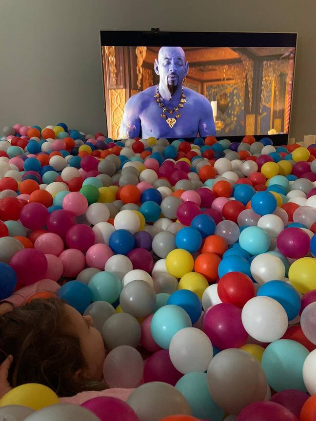 Phil and Sienna even lay in the ball pit and watched Aladdin. Credit: Phil Smith