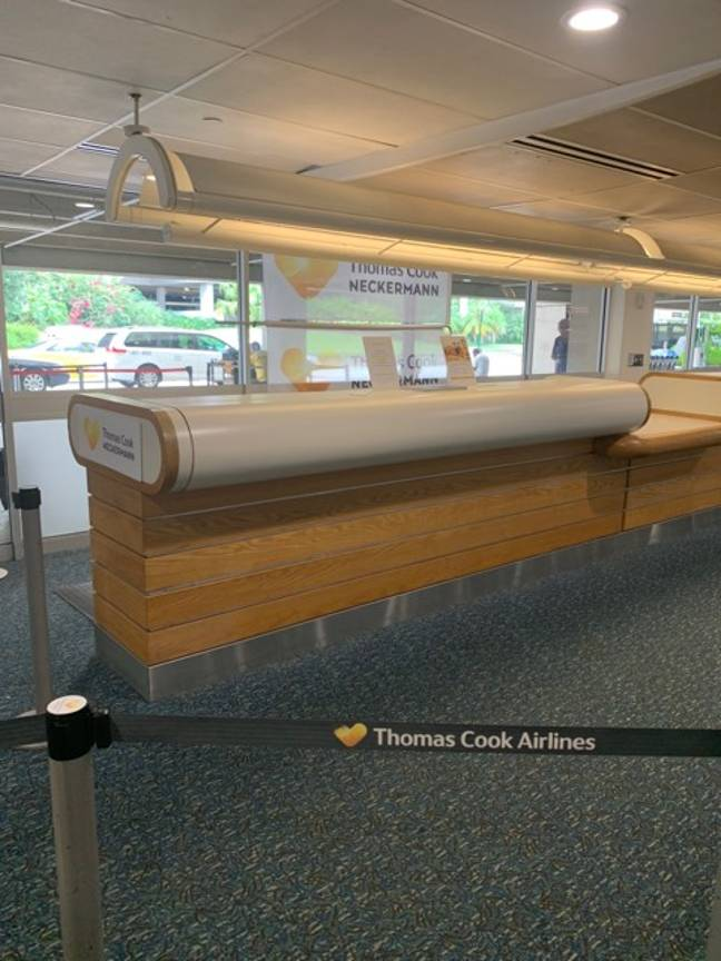 Thomas Cook check in desks around the world have been left deserted. Credit: LADbible