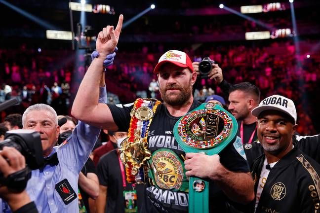 Tyson Fury wins against Deontay Wilder in October 2021. (Credit: PA)