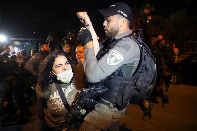 Protestor arrested during demonstration against forced evictions. Credit: PA