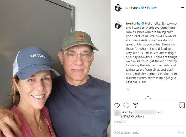 The couple warned people to self-isolate to protect vulnerable people from COVID-19. Credit: Instagam/Tom Hanks