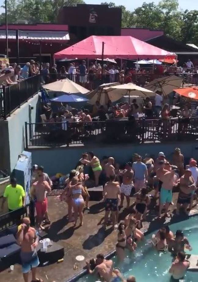 Hundreds packed into a pool party in the Ozarks for Memorial Day. Credit: Twitter