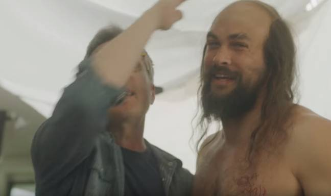 Skinny balding Momoa seemed to divide viewers. Credit: Rocket Mortgage