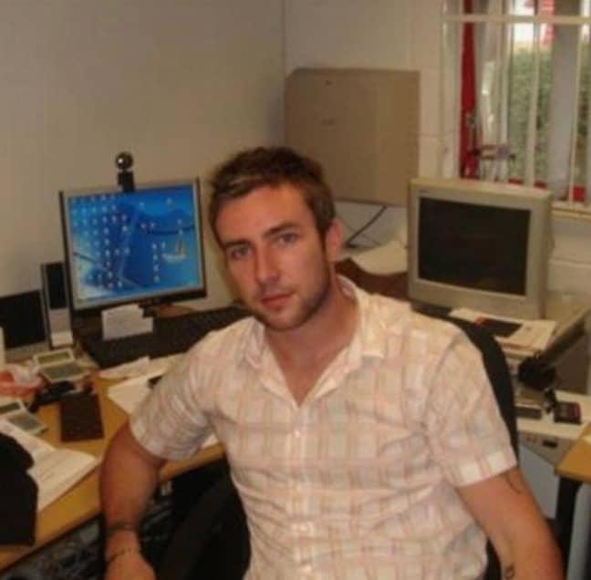Adam aged 23 in his first office. Credit: Adam Deering