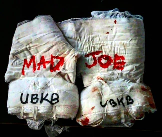 'Mad' Joe Clarke's gloves post bout. Credit: Martyn Jones