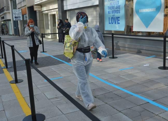 A shopper in Birmingham wasn't taking any chances. Credit: PA
