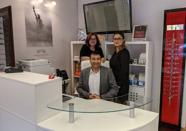 Bhavin Shah (middle). Credit: Central Vision Opticians