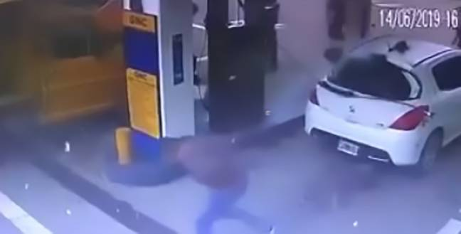 The petrol station attendant was filling the car up when the blast occurred. Credit: CEN