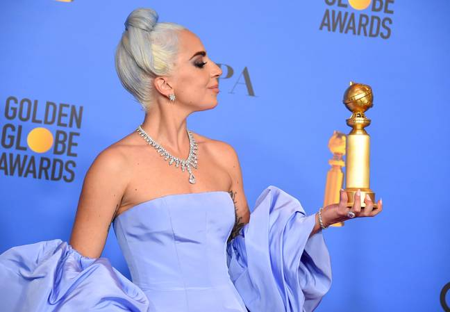 Lady Gaga with her Golden Globe. Credit: PA