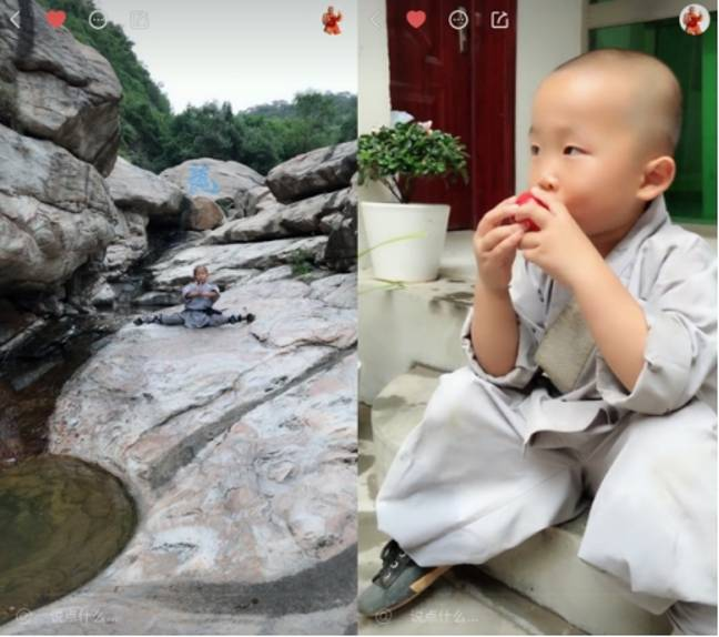 Qi used to cry when he first arrived at the temple. Credit: kuaishou WX984588744