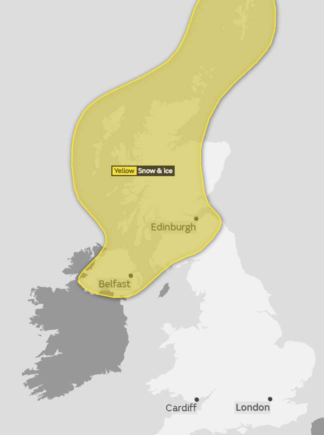 Here's the areas expected to be hit the hardest. Credit: Met Office