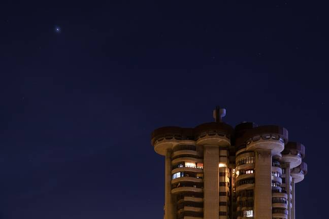 Mars visible in the night sky from Madrid last October. Credit: PA