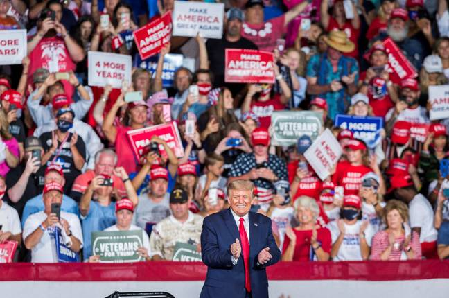 Trump's rally at the Smith Reynolds Regional Airport in Winston-Salem, North Carolina, in September. Credit: PA