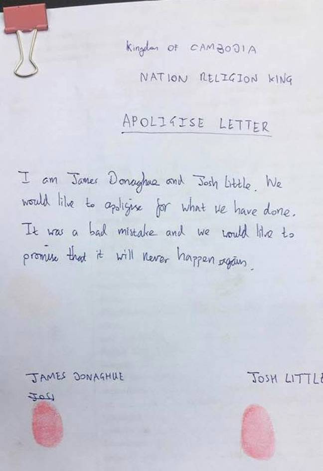 The two men were forced to write a letter apologising for their drunken behaviour. Credit: Viral Press
