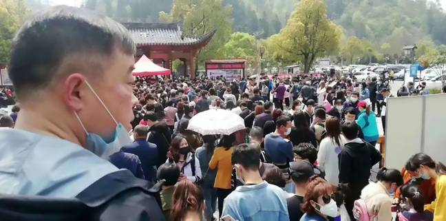 Officials were forced to start turning tourists away when the site reached it's 20,000 capacity. Credit: Asia Wire