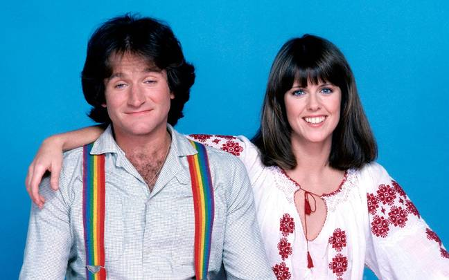 Williams and co-star Pam Dawber in 'Mork & Mindy'. Credit: ABC