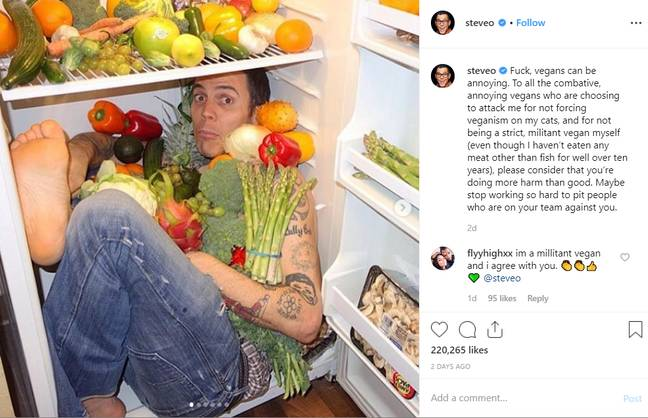 The ex-Jackass prankster has landed in hot water with vegans after his controversial post. Credit: Instagram