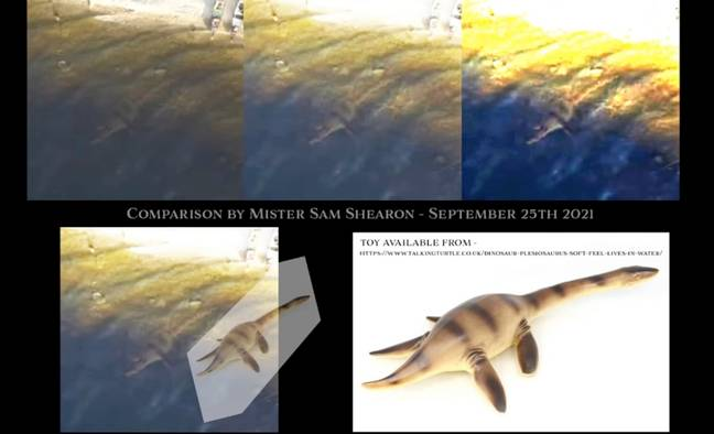 Internet sleuths believe the footage was tampered with using the image of a toy dinosaur. Credit: ParaBreakdown/YouTube