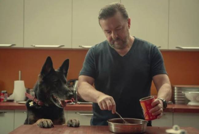 Ricky Gervais says he can only work for eight minutes at a time when writing After Life. Credit: Netflix