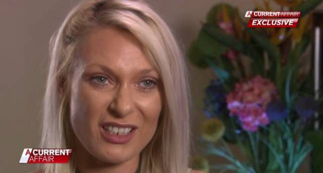 One unhappy looking mother. Credit: Channel 9/A Current Affair