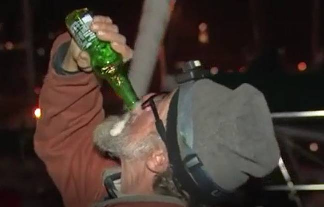Bill necked a beer shortly after making land. Credit: TVNZ