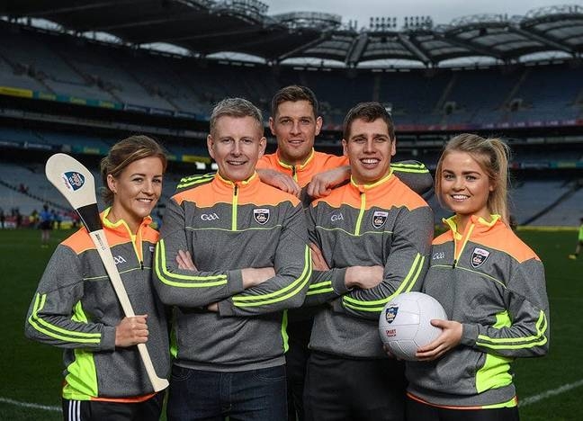 Comedian, TV host and 1987 All-Ireland winner for Down, Patrick Kielty was joined by a host of GAA All-Stars at Croke Park today to launch Kellogg's GAA Cúl Camps 2017. (Credit: Stephen McCarthy/Sportsfile)