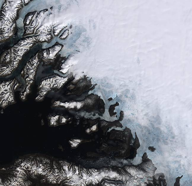 Satellite image, dated 12 June 2014, on multiple glaciers in Greenland. Scientist have discovered an increase in the melting of Greenland's ice sheet. Credit: PA