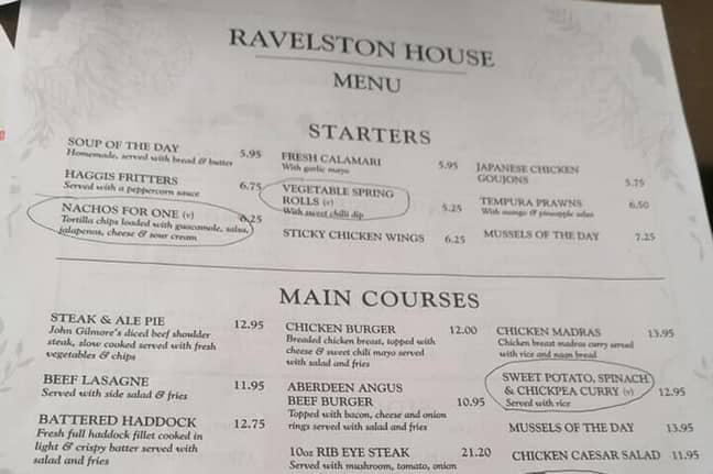 The menu, complete with 'vegan s***e' circled. Credit: Media Scotland