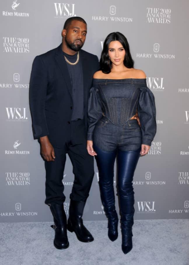 Kanye with Kim Kardashian. Credit: PA