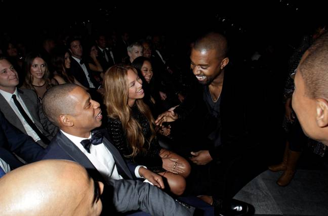 Kanye with Jay-Z and Beyoncé in 2015. Credit: PA