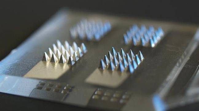 The vaccine patch uses microneedles to deliver the dose. Credit: Swansea University
