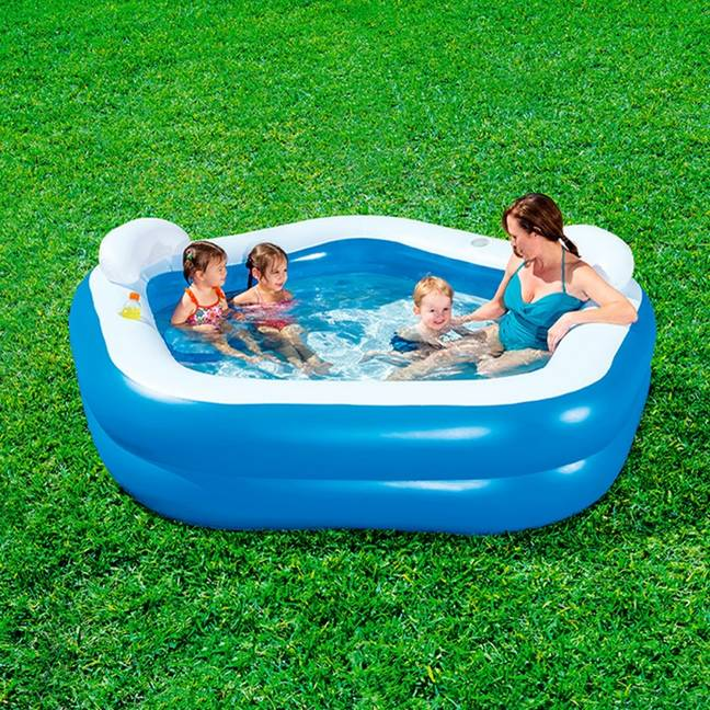 The pool features two seats, headrests and cup holders. Credit: Bestway