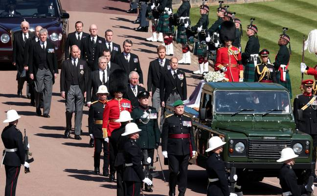 His coffin was carried to the chapel on a Land Rover he helped design. Credit: PA
