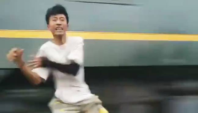 The train driver immediately applied the brakes when he saw people near the tracks. Credit: AsiaWire