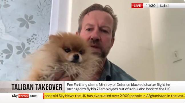 Paul 'Pen' Farthing with Ewok the dog. Credit: Sky News