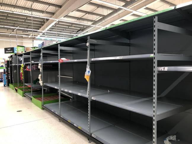 Empty shelves in a London Asda. Credit: PA