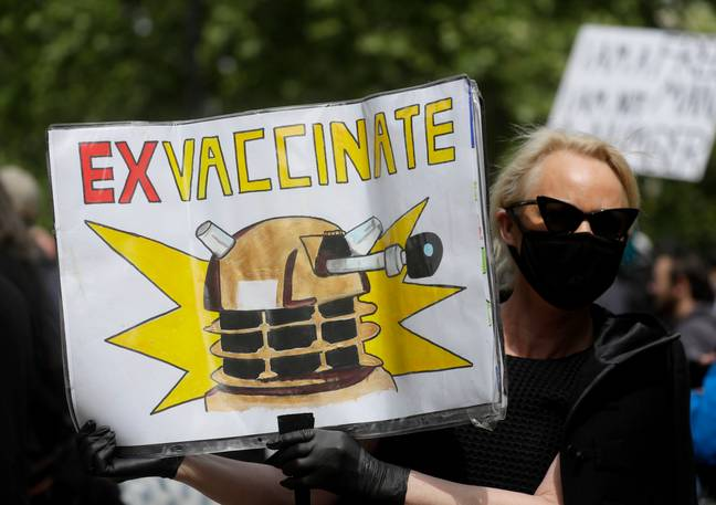 Some of the protesters carried anti-vaccination placards. Credit: PA