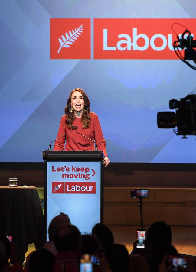 Jacinda Ardern addressing supporters after winning the election earlier this month. Credit: PA