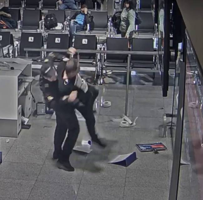 Airport security turned up and tackled the bloke to the floor. Credit: East2West News