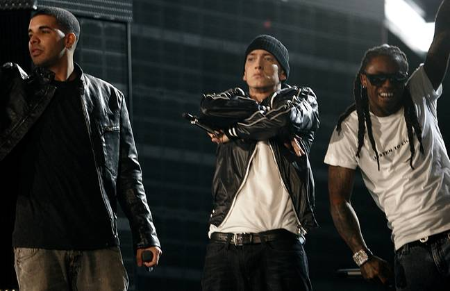 Drake, Eminem and Lil Wayne perform at the 52nd annual Grammy Awards in LA, 2010 (Credit: PA)